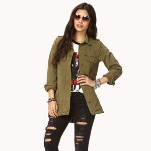 Forever 21 Olive British Flag Military Jacket Sz L